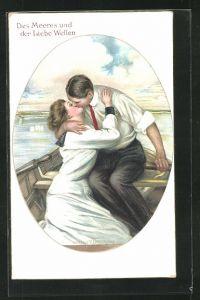 Künstler-AK Clarence F. Underwood: Des Meeres und der Liebe Wellen, Liebespaar auf einem Boot