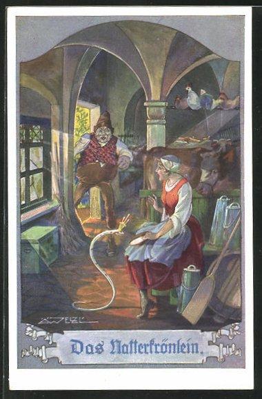 Künstler-AK T. Welzl: Das Natterkrönlein