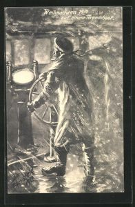 Künstler-AK K. Blossfeld: Steuermann auf einem Torpedoboot, Weihnachten 1914