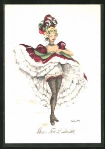 Künstler-AK sign. Janicotte: Junge Dame tanzt Cancan