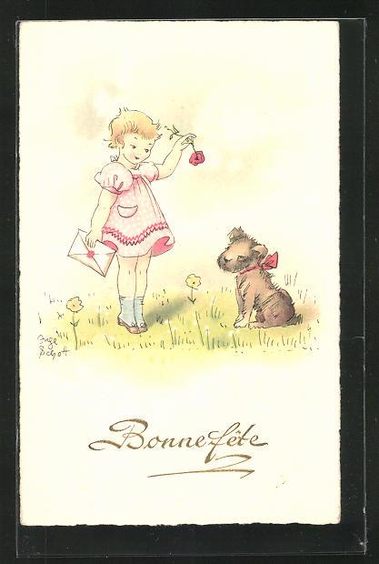 Künstler-AK Inge Schott: Bonne fête, Mädchen und Hund
