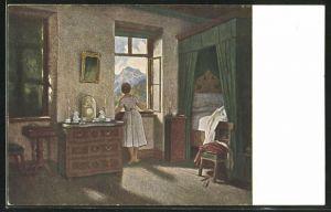 Künstler-AK Clara von Sivers: Morgenstunde, Maid am Fenster