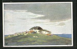 Künstler-AK Berthold Clauss: Die Hallig, Panorama mit Wohnhaus und Schafen