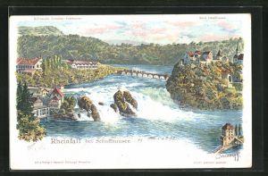 Künstler-Lithographie C. Steinmann: Rheinfall bei Schaffhausen