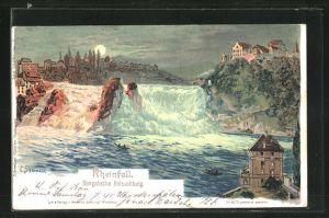 Künstler-Lithographie C. Steinmann: Rheinfall, Bengalische Beleuchtung, Vollmond
