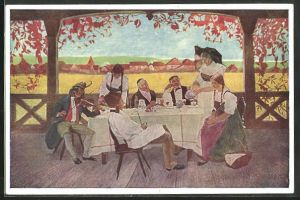 Künstler-AK sign. C. Spindler: L`ami Fritz, Motiv aus Gasthaus