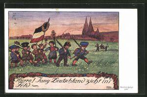 Künstler-AK Adalbert Holzer: Jungs als Soldaten mit Reichsfahne marschieren Hurra! Jung Deutschland zieht ins Feld