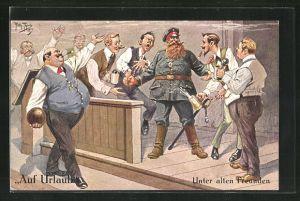 Künstler-AK Arthur Thiele: Soldat mit Vollbart und eisernem Kreuz mit Zivilisten beim Biertrinken und Kegeln