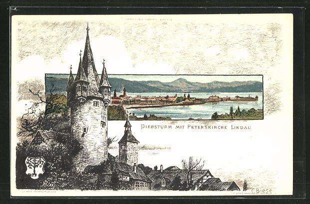 Künstler-AK Carl Biese: Diebsturm mit Peterskirche Lindau