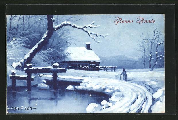 Künstler-AK A. Bertiglia: Winterliche Landschaft mit alter Frau, Bonne Annee