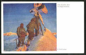 Künstler-AK A. Barth: Bergsteiger erreichen das Gipfelkreuz des Grossglöckners mit dramatischem Licht
