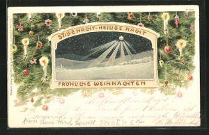 Künstler-AK P. Kraemer: Stern über Bethlehem über Schneelandschaft, Umrahmung mit Kerzen und Weihnachtsschmuck