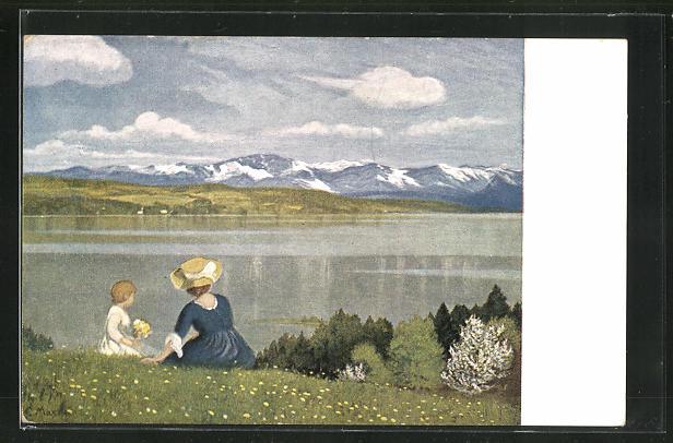 Künstler-AK G. Hirth`s Verlag, Serie 173: Frau mit Kind blicken auf den Starnbergersee