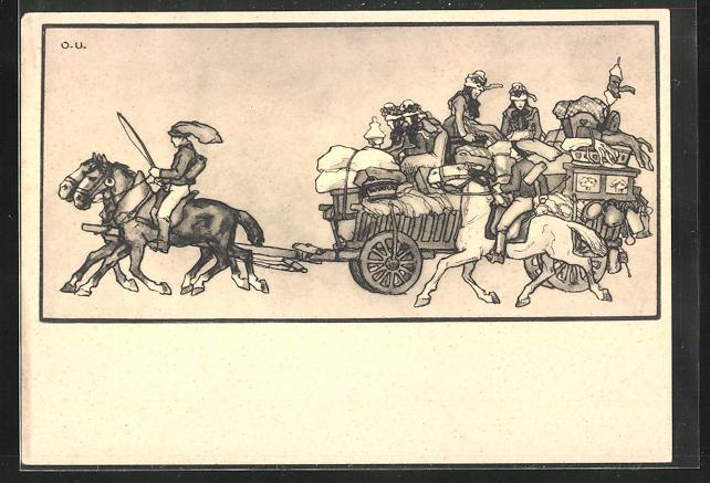 Künstler-AK Otto Ubbelohde: Hessische Trachten, Menschen mit Pferd und Kutsche