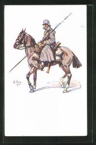 Künstler-AK Angelo Jank: Lanzier mit Stahlhelm zu Pferd