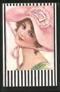 Künstler-AK de Godella: junge Dame mit rosa Hut