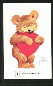 Künstler-AK Lawson Wood: Heartily Yours, Teddy mit Herz