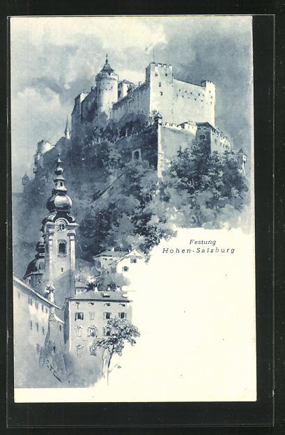 Künstler-AK Edward Theodore Compton: Festung Hohen-Salzburg