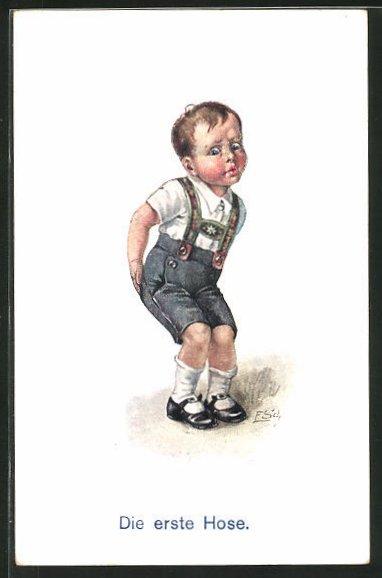 Künstler-AK Ernst Schlemo: Die erste Hose, kleiner Bub