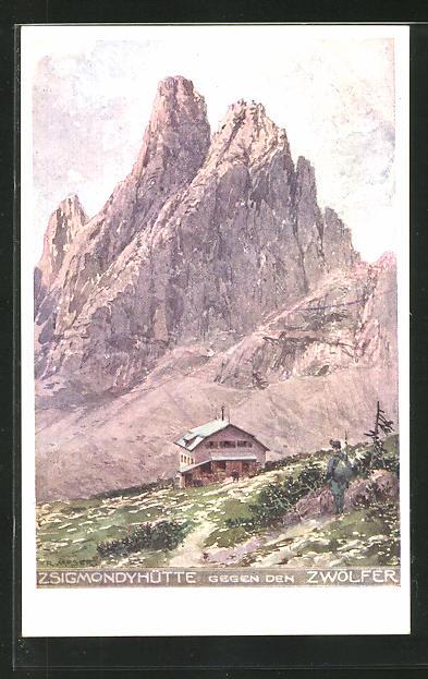 Künstler-AK Richard Moser: Zsigmondyshütte gegen den Zwölfer