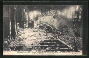 AK Incendie du Poste Central téléphonique dit Gutenberg 1908, Salle d`un Multiple, Grossbrand