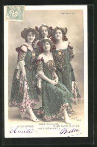 Foto-AK Walery, Paris: Alcazar d`Ete, Miss Birks, Miss Williams, Miss Clara Davine mit Hüten in bunten Kleidern