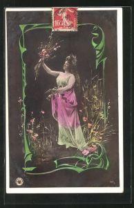 Foto-AK NPG Nr. junge Frau beim Blumen pflücken