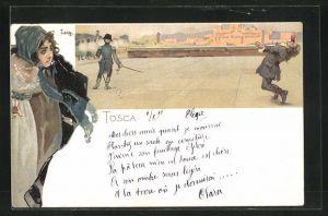 Künstler-Lithographie Leopoldo Metlicovitz: Tosca, Szene aus der Oper