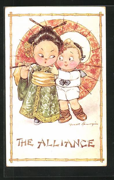 Künstler-AK Fred Spurgin: The Alliance, kleiner Europäer und Chinesin
