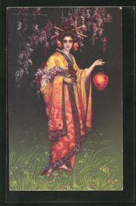 Künstler-AK Tito Corbella: Geisha mit Lampion