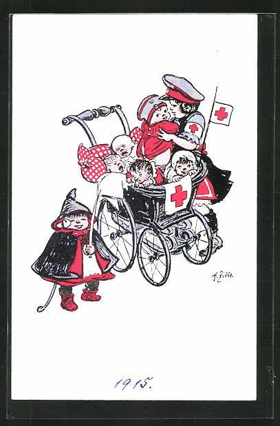 Künstler-AK Heinrich Zille: kleine Rotkreuzschwester mit Kinderwagen