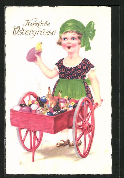 Künstler-AK Herschu: Ostergrüsse, Mädchen mit Karren voller Ostereier