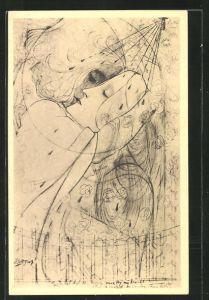 Künstler-AK Jan Toorop: In het dal der rozen, Liebespaar