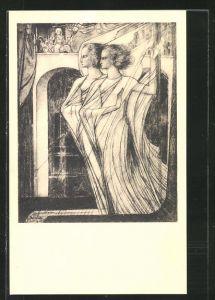 Künstler-AK Jan Toorop: De Vlucht naar Egypte, Bibelmotiv, Engel