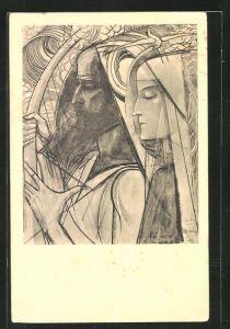 Künstler-AK Jan Toorop: De Harpspeler, Der Harfespieler
