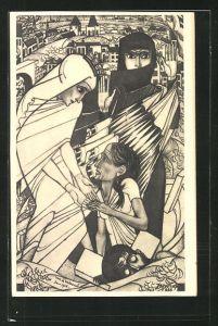 Künstler-AK Jan Toorop: De Watersnood, Sturmflut