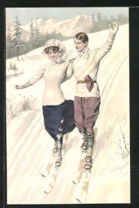 Künstler-AK Theo Zasche: Paar beim Skilaufen