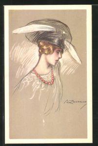 Künstler-AK A. Zandrino: junge Dame mit Hut
