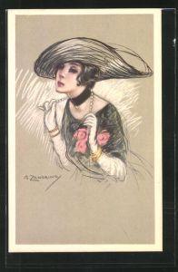 Künstler-AK A. Zandrino: Dame mit Hut und Perlenkette