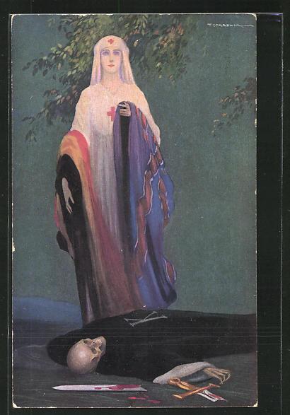 Künstler-AK Tito Corbella: Miss Cavell and German Kultur, Skelett, Rotes Kreuz Schwester