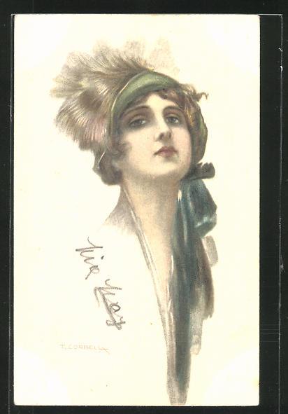 Künstler-AK Tito Corbella: Frauenkopf mit modischem Hut
