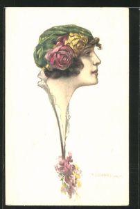 Künstler-AK Tito Corbella: Frauenprofil mit Hut