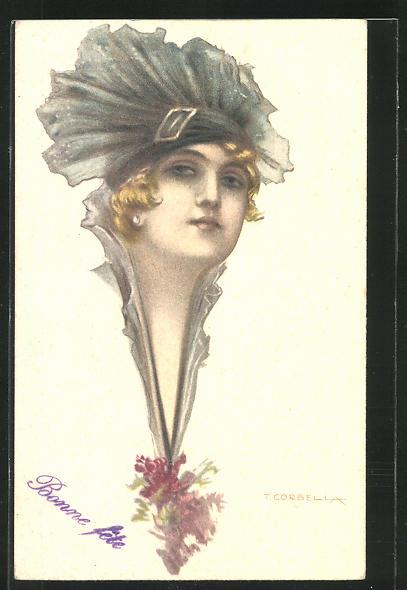Künstler-AK Tito Corbella: Frauenhaupt mit modischem Hut