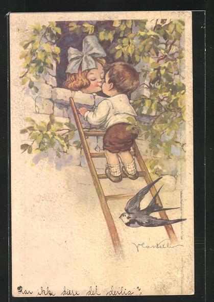 Künstler-AK Castelli: kleines Liebespaar und Schwalbe