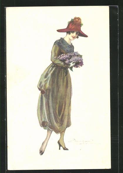 Künstler-AK Sergio Bompard: Dame mit Hut und Blumen