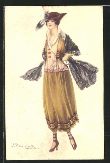 Künstler-AK Sergio Bompard: Dame in modischer Kleidung mit Hut