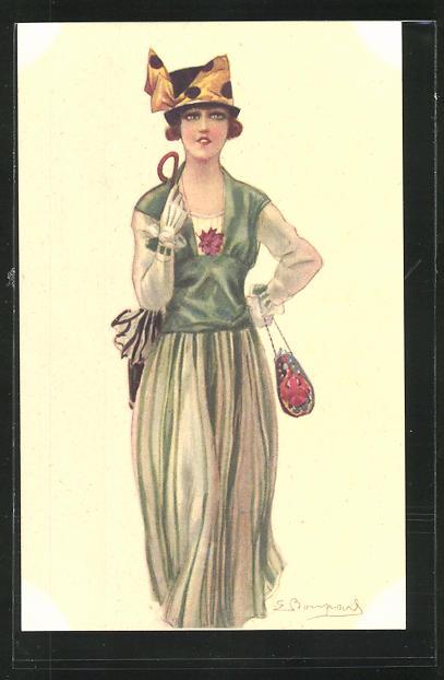 Künstler-AK Sergio Bompard: junge Dame in grünem Kleid mit Hut