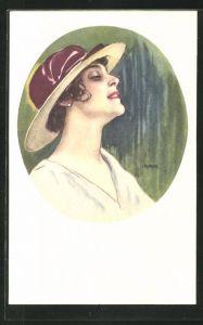 Künstler-AK dunkelhaarige Dame mit Hut