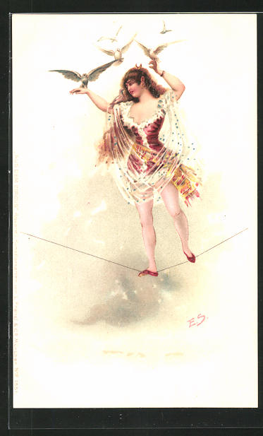 Künstler-Lithographie Ernst Schlemo: Aus dem Circus, Hochseilartistin