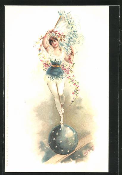 Künstler-Lithographie Ernst Schlemo: Aus dem Circus, Akrobatin balanciert auf Ball